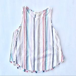 ANTHRO Cloth & Stone Stripe Button Tank Top